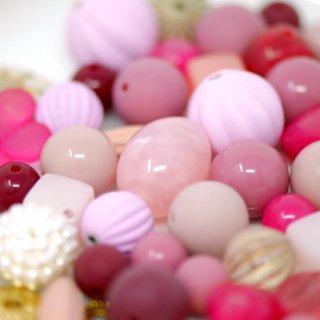 ピンク系ビーズ パーツ アソート 62個セット #28