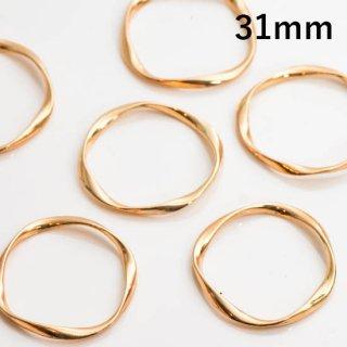 ひねりリングパーツ ツイストリング【穴なし】  31mm ゴールド フープ ねじれ デザインリング