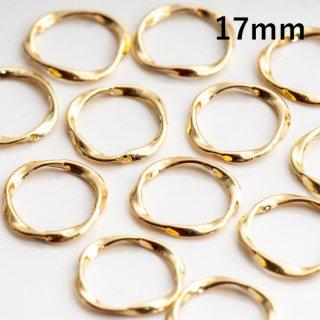 ひねりリングパーツ ツイストリング【穴なし】  17mm ゴールド フープ ねじれ デザインリング