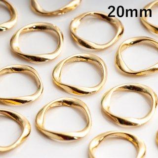 ひねりリングパーツ ツイストリング【穴なし】  20mm ゴールド フープ ねじれ デザインリング