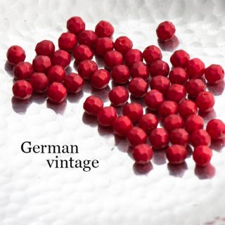 ドイツヴィンテージビーズ 多角形6ミリ 赤 20個  アクリルビーズ  ルーサイトビーズ