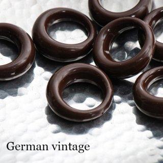 ドイツヴィンテージビーズ 1つ穴リング 茶 2個  アクリルビーズ  ルーサイト フープ
