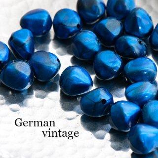 ドイツヴィンテージビーズ 不規則 12mm メタリックブルー 4個  アクリルビーズ  ルーサイトビーズ