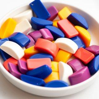 ソリッドカラーのアーチカボション 5色10個 貼り付けパーツ かまぼこ型 半円柱