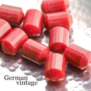 ドイツヴィンテージビーズ 多面カット円柱型 赤 2個  アクリルビーズ  ルーサイトビーズ