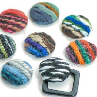 コットン毛糸のラウンドカボション ストライプ 貼り付けパーツ