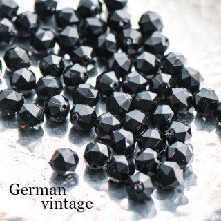 ドイツヴィンテージビーズ 多角形8ミリ 黒 20個  アクリルビーズ  ルーサイトビーズ