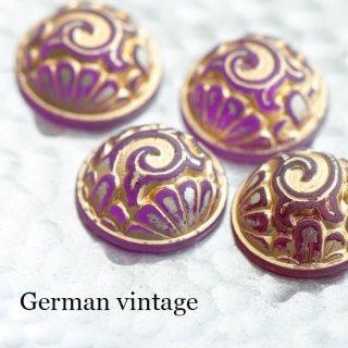 ドイツヴィンテージカボション 文様 紫 2個  ルーサイト