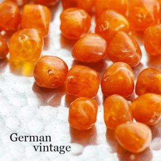 ドイツヴィンテージビーズ 不規則 10mm オレンジ 6個  アクリルビーズ  ルーサイトビーズ