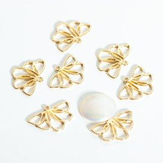 《増量中》ゴールドのリーフチャーム 8個 メタルパーツ 花びら 葉っぱ フラワー