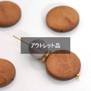 【B品】ウッドビーズ フラットラウンド 30mm  6個 ウッドパーツ コイン型