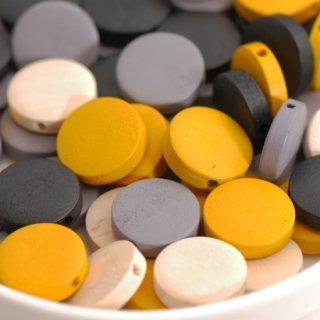 4色のウッドビーズ フラットラウンド 4個 ウッドパーツ コイン型