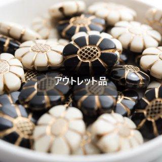 【B品】アンティーク調 ビーズ フラワー 40個 ゴールドライン アクリルビーズ 花