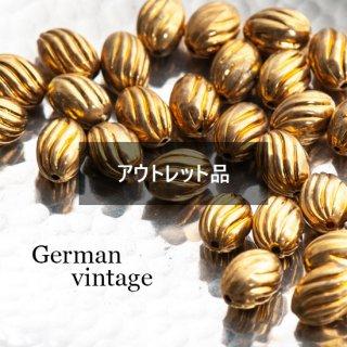 【B品】ドイツヴィンテージビーズ ナツメ ゴールド 12個  アクリルビーズ  ルーサイトビーズ ツイスト