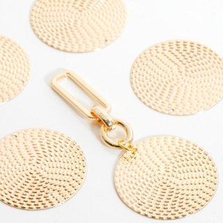 銅製ラウンドプレートチャーム 4個  ゴールド メタルパーツ ディスク コイン