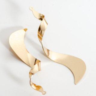 螺旋チャーム ゴールド 4個 ツイストチャーム メタルパーツ ひねり