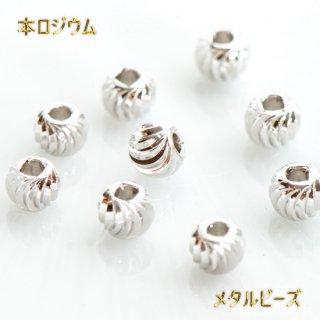 最高級鍍金 波筋入りデザインボール 本ロジウム 韓国製  スペーサービーズ メタルビーズ ツイスト
