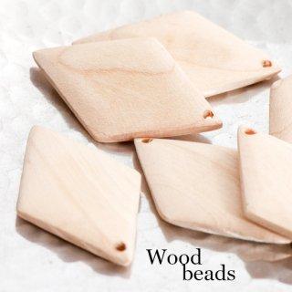 ウッドチャーム 菱形 2個 ダイヤ 木製 ウッドビーズ