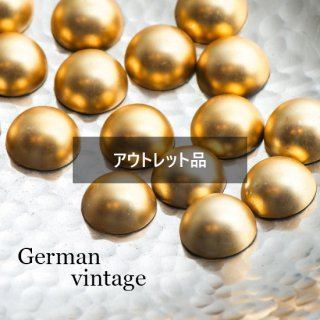 【B品】ドイツヴィンテージカボション ぷっくりマットゴールド 4個  ルーサイト
