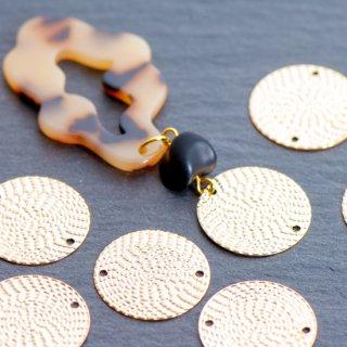 銅製ラウンドプレート網目風コネクター 4個  ゴールド メタルパーツ ディスク チャーム