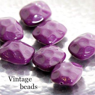 ヴィンテージビーズ ごつごつ長方形 紫 2個  アクリルビーズ  ルーサイト 四角 スクエア