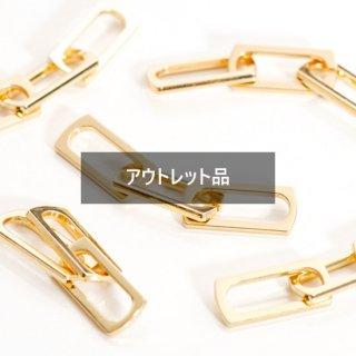 【B品】合金3連チェーンパーツ コネクター ゴールド 4個 メタルパーツ チャーム 鎖