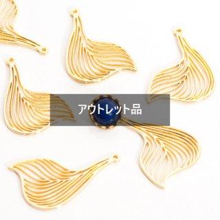 【B品】ゴールドのリーフチャーム 6個 メタルパーツ 花びら 葉っぱ