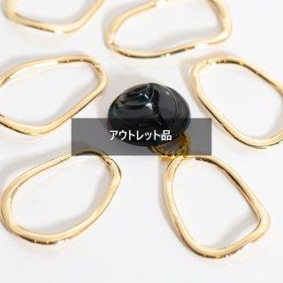 【B品・100個】不規則楕円リングチャーム 【穴あり】  リングパーツ ゴールド フープ