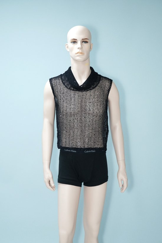 Vintage Black Mesh Sleeveless Top