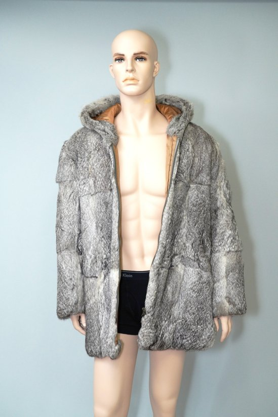 Vintage Rabbit Fur Hooded Coat