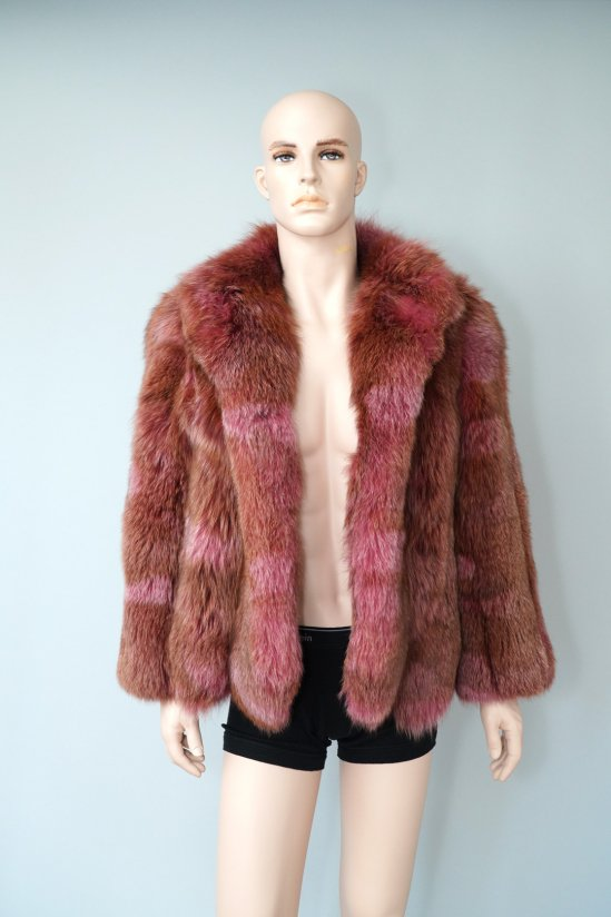 Vintage Brown and Purple Mixed Genuine Fur Coat