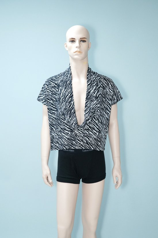Vintage Zebra Patterned Wide-Neck Top