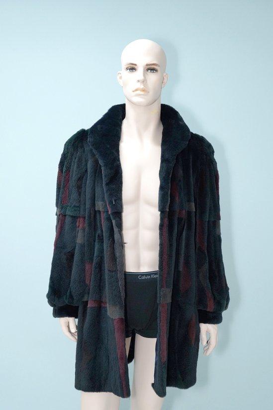 Vintage Multicolor Sheared mink Fur Long Coat
