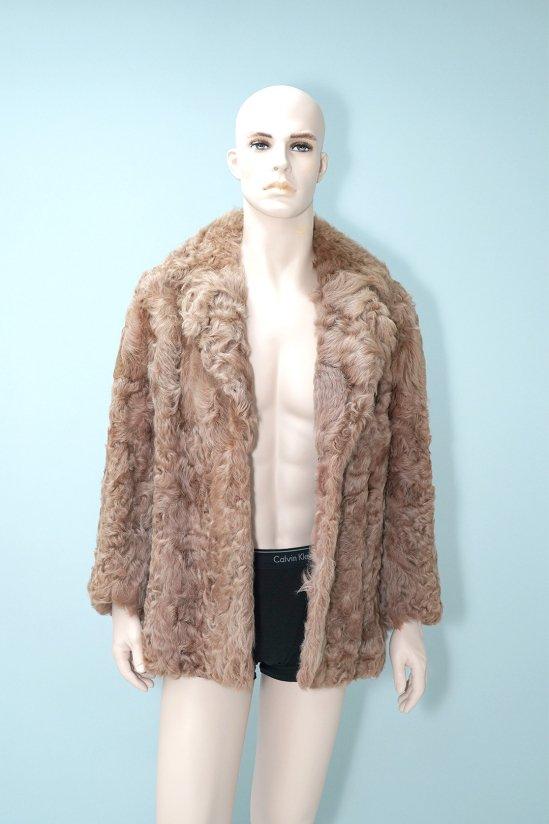 Vintage Curly Brown Genuine Fur Coat