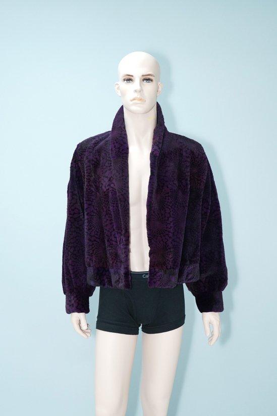 Vintage Purple Plucked Genuine Fur Jacket