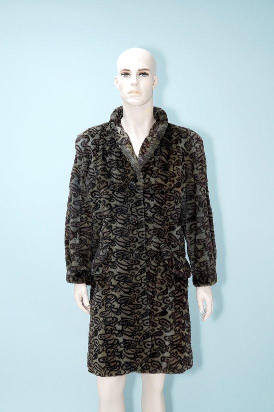 Vintage Design Plucked Weasel Fur Long Coat