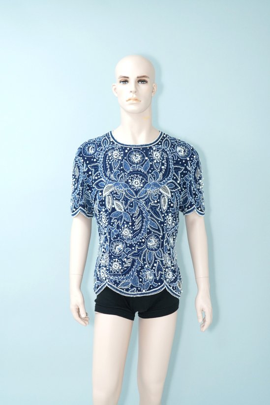 Vintage Beaded Blue S/S Shirt
