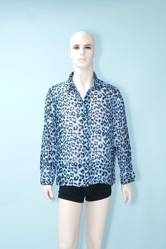 Vintage Blue Leopard See-Through Shirt