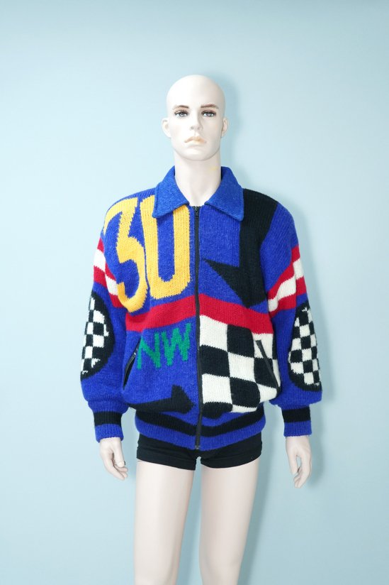 Vintage Checkered Flag Blue Knit Jacket