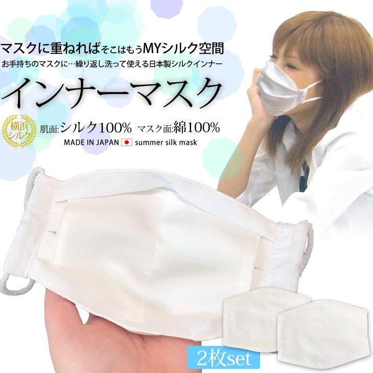 インナーマスク 不織布マスク 使い捨てマスクの内側に シルクの優しい肌触り 日本製 夏 熱中症対策 涼しい 絹 通気性 洗って使える  シルクマスク 天然素材100% 2枚入 cm-1