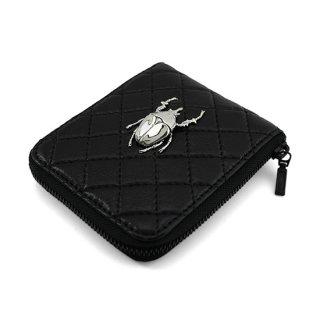 昆虫付き 牛革キルティング二つ折り財布