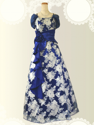 【M-L】ホワイト花柄 ブルーのロングドレス 演奏会 ラミューズドレス通販