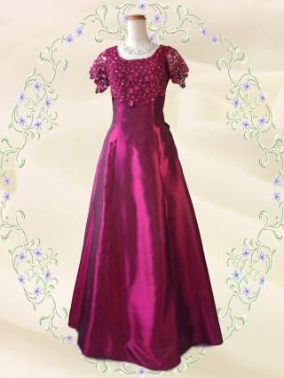 【3L】リカーモレッド 袖付きロングドレス 5737/演奏会 ラミューズドレス
