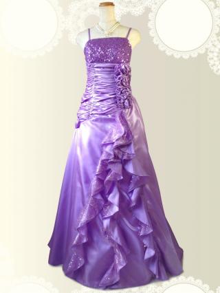 【Lサイズ】着やせラベンダーのロングドレス  3604 / 演奏会 ラミューズドレス通販