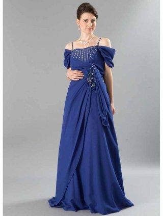 【Lサイズ】ラジアリィダイヤのロングドレス 青・黒 9-350ラミューズドレス通販