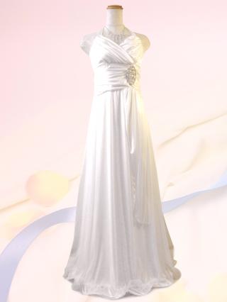 美ライン☆ホルターネックロングドレス ホワイト 057 / 演奏会 ラミューズドレス通販