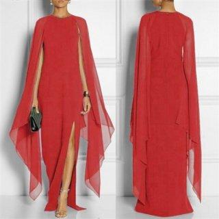 変形デザインドレス*レッド*スリット / 演奏会 ラミューズドレス通販