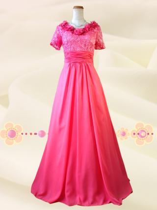 【Lサイズ】カメリアピンク 袖付きロングドレス6000 /演奏会 ラミューズドレス通販