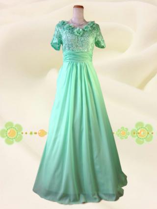 【Lサイズ】カメリアグリーン 袖付きロングドレス 6000 /演奏会 ラミューズドレス通販