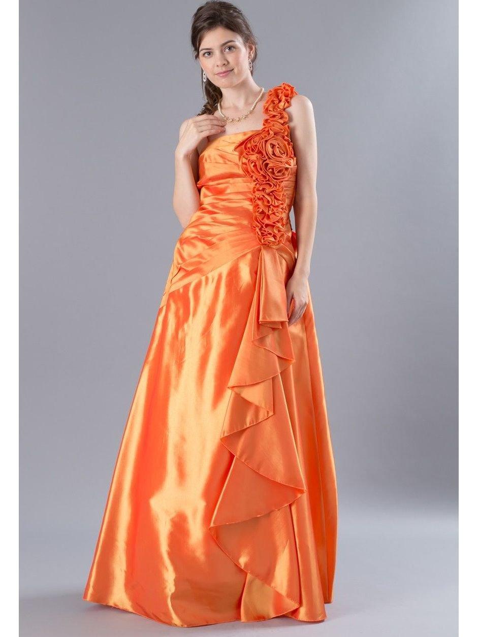 b36759b23047c 薔薇とフリル オレンジのロングドレス2400 ラミューズドレス通販